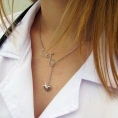 Stethoscope necklace  Silver Lariat necklace by SparrowJewellry