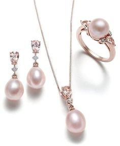 Pink Cultured Pearl, Morganite and Diamond Jewelry Collection in Rose Gold - Pearl Jewelry Jewelry Tags, Jewelry Shop, Beaded Jewelry, Jewelry Accessories, Jewelry Necklaces, Fashion Jewelry, Jewelry Design, Fashion Earrings, Fashion Beads