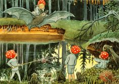 Children of the Forest gnomes Fantasy by Elsa Beskow Russian Modern postcard Elsa Beskow, Fairy Land, Fairy Tales, Fairy Dust, Poster Shop, Children Of The Forest, Illustrator, Flower Fairies, Children's Book Illustration