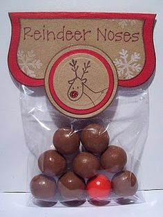 - Love this cute Christmas treat bag idea: reindeer noses from A Personal Touch