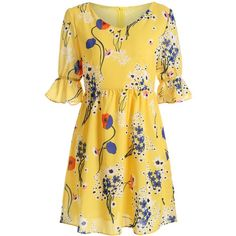 Floral Print High Waist V Neck Mini Dress (425 MXN) ❤ liked on Polyvore featuring dresses, floral dresses, flower printed dress, floral print dress, v-neck dresses and v neckline dress