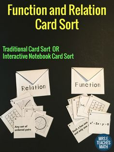 Functions and Relations Card Sort - perfect for algebra interactive notebooks or as a stand alone activity Algebra Activities, Teaching Math, Math 8, Teaching Activities, Math Teacher, Math Worksheets, Teaching Tools, Teaching Ideas, Math Lesson Plans