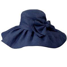 Stylish Dual Layer Wide Bow Foldable Flat Brim Straw Sun Hat - Blue: Clothing
