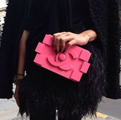 Details in street style : Chanel Lego clutch in hot pink