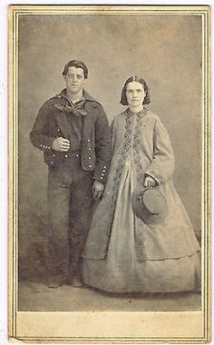 Civil War Man in Naval Uniform with Wife in Westerly Rhode Island by Scholfield