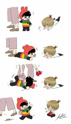 It's Fanart of VkookK or as Taekook, anyway if you are a JiKooK shiper. This is only for our VKooK shiper's out there in the WORLD! Fanart Kpop, Jungkook Fanart, Vkook Fanart, Bts Taehyung, Bts Bangtan Boy, Bts Jimin, Bts Chibi, Taekook, Boy Band