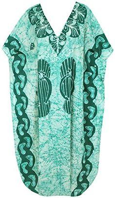 aa0654dc33 Gown Maxi Long Beach Wear Cap Sleeves Cotton V Neck Cover up Dress Kaftan  L4X *