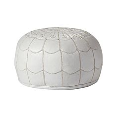 Moroccan Leather Pouf – White | Serena & Lily #PinkIsMyFavorite #DreamTeam #PinToWin