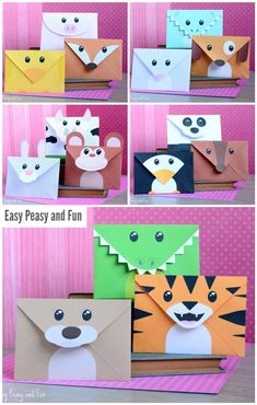 Printable Silly Animals Envelopes Druckbare alberne Tiere Umschläge Easy Peasy and Fun Kids Crafts, Preschool Crafts, Fall Crafts, Diy And Crafts, Christmas Crafts, Craft Projects, Paper Crafts, Summer Crafts, Science Crafts