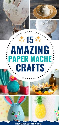 WOW! These DIY Paper Mache Crafts are so much fun! So many things to try making and they turn out great! Can't wait to make the hot air balloon. YAY! #diy #papercrafts #papermache