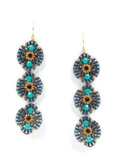 turquoise multi triple drop earrings by miguel ases