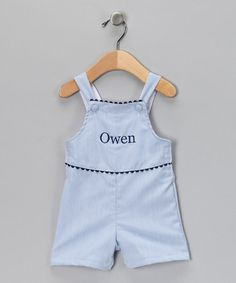 Take a look at this Blue Pinstripe Personalized Shortalls - Infant & Toddler by Princess Linens on #zulily today!