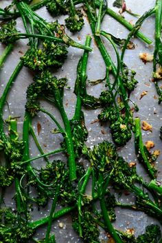 10-minute Spicy Ginger Garlic Roasted Broccolini by simplyscratch: Crispy,tender, and deliciously spicy. #Broccolini #Ginger #Garlic #Healthy #Fast