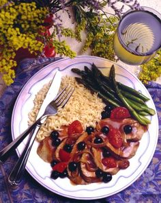 Pork Tenderloin with Blueberry Sauce  Be sure the pork is from North Carolina as well for best results!