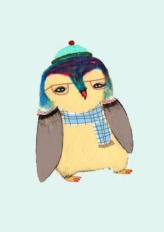 ❄ Penguin Yen ❄   Penguin Art Print | Ashley Percival, Illustrator | Society6