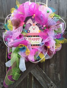 Easter Wreath, Easter Deco Mesh Wreath, Easter Decoration, Bunny In A Basket on Etsy, $79.00