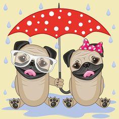 Dois cães com guarda-sol - ilustração de arte em vetor