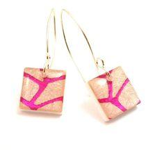 Resin Square Dangle Earrings in Pink Geometric by Jackdaw on Etsy, $20.00