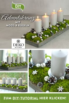 DIY Christmas decoration: pretty advent wreath with moss & balls - DIY advent wreath to make yourself. You can easily implement this elongated Advent arrangement with - Winter Christmas, Christmas Time, Christmas Crafts, Xmas, Christmas Advent Wreath, Candle Tray, Pillar Candles, Country Christmas Decorations, Be Natural