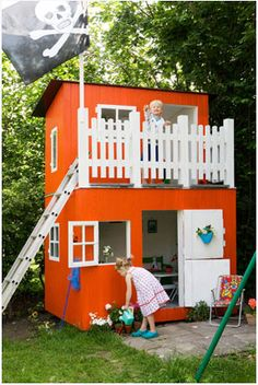Two story outdoor kids play house with porch Cubby Houses, Play Houses, Playhouse Outdoor, Playhouse Plans, Wooden Playhouse, Childrens Playhouse, Outside Playhouse, Playroom Design, Kid Playroom