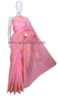 Ada #handembroidered Pink #Cotton #Lucknowi #Chikan Saree With Blouse - A221560 - #AdaChikan
