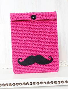 Black Mustache iPad 1 2 3 new sleeve Flirty funny iPad case - Pink Crochet iPad Case - Moustache - Free Shipping