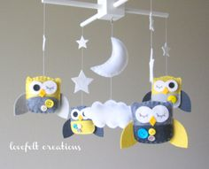 Yellow and Gray Nursery Mobile - by  LoveFelt Creations