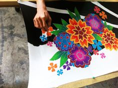 Another silk scarf being painted by hand exclusively at Dreamluxe Los Angeles