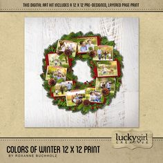 Colors Of Winter 12 X 12 Page Print - The pre-designed Colors of Winter 12 x 12 Page Print is perfect for showcasing multiple holiday photos. Available exclusively at Forever. Designer: Roxanne Buchholz