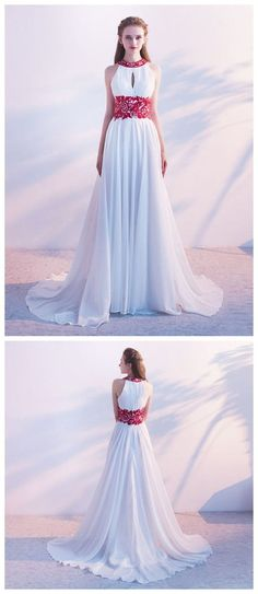 CHIC A-LINE SCOOP CHIFFON SLEEVELESS RUFFLES WHITE LONG PROM DRESS EVENING DRESS Gold Prom Dresses, Unique Prom Dresses, Long Prom Gowns, Popular Dresses, Homecoming Dresses, Vintage Dresses, Evening Dresses, Vintage Prom, Applique Dress