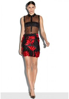 EXCLUSIVE COUTURE FLORAL FIL COUPE MODERN MINI SKIRT