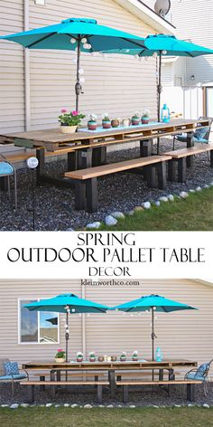 Spring Outdoor Pallet Table Decor to spruce up your outdoor dining space for the warmer weather. Make your outdoor dining set beautiful with accessories. MyOutdoorOasis #AD @lowes