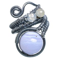Large Blue Lace Agate, Rainbow Moonstone Oxidized 925 Sterling Silver Ring Size 9 Adjustable RING763001