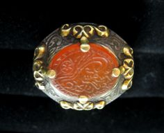 16th century ottoman silver ring with inscribed carnelian seal