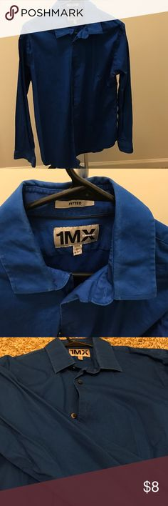 Express Fitted 1MX Dress Shirt Express Fitted 1MX Dress Shirt. Royal Blue. Slightly worn. Still in good condition. Size Large 16-16 1/2 neck Express Shirts Dress Shirts