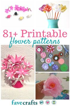 With these Printable Flower Patterns, you can learn how to make fabric flowers, paper flowers, crochet flowers, and more. Felt Flowers Patterns, Making Fabric Flowers, How To Make Paper Flowers, Large Paper Flowers, Tissue Paper Flowers, Crochet Flower Patterns, Crochet Flowers, Fabric Flower Pattern, Dyi Flowers