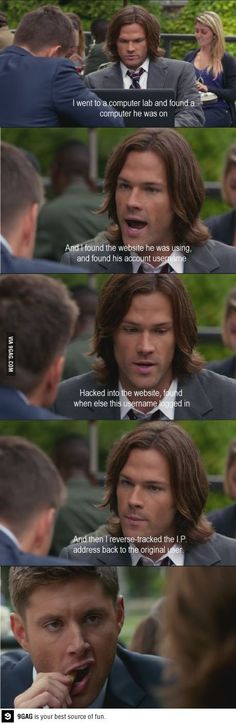 Sam trying to keep Dean's attention