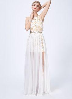 Polyester Solid Sleeveless Maxi Elegant Dresses