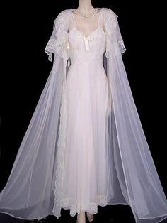 Vintage Virginia Wallace Southern Belle Bridal Trousseau Peignoir Nightgown Set