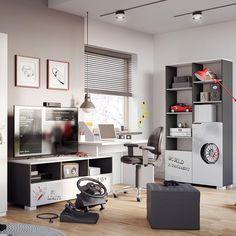 Funcționalitate învăluită într-un design vesel.  #mobexpert #backtoschool #backtoschool2019 #mobiliercopii #birouricopii Office Desk, Corner Desk, School, Furniture, Design, Home Decor, Corner Table, Desk Office, Decoration Home