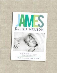 baby boy birth announcement  printable by paperkitedesigns on Etsy, $14.00