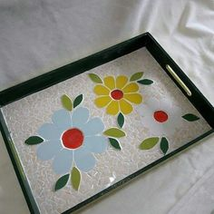 Mosaic Tray, Mosaic Glass, Mosaic Tiles, Stained Glass Art, Stone Painting, Projects To Try, Creations, Crafts, Handmade