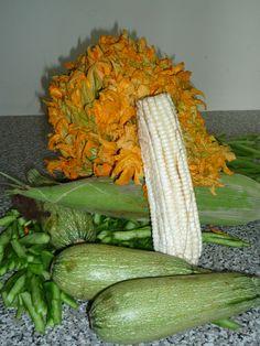 Los ingredientes de la milpa, grano de maíz, flor de calabaza, calabacitas, chile poblano ....hacen una sopa espectacular.Y a partir de estas calabacitas los italianos dieron al mundo el zuchinni