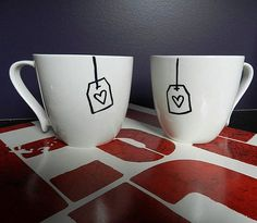 Sharpie Mugs: Use your sharpie to draw a design on a plain mug (which you can buy from the dollar store), and set the drawing in by baking it. Get more instructions here. Source: Etsy user LogicOwl