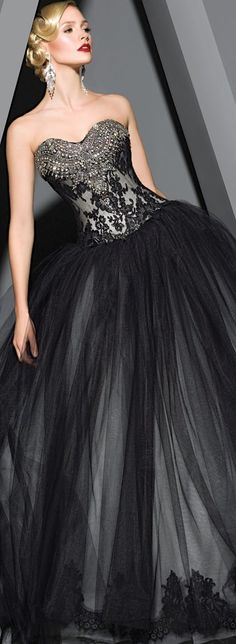Victor Harper ~ black, strapless gown with silver accents on the bodice and a big, ol' poofy tulle skirt! Yes!!!