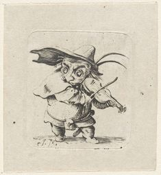 Isaac Walraven | Dwerg met viool en zwaard, Isaac Walraven, Jacques Callot, 1696 - 1765 |