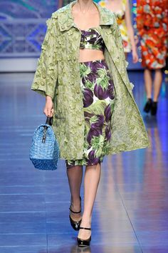 Dolce & Gabbana eggplant-print stretch-crepe skirt, top and coordinating coat