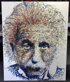 Einstein canvas stretched and ready to go on the wall! #art #pictureframing #customframing #denver #colorado #canvasstretching #alberteinstein