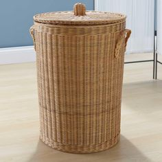 "16"" Classic Natural Rattan Laundry Basket - Bathroom"