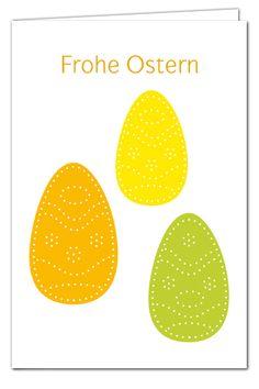 Osterkarte Zum Prickeln   Drei Prickeier   Grün/Orange/Gelb   Mit Farbigen  Umschlägen